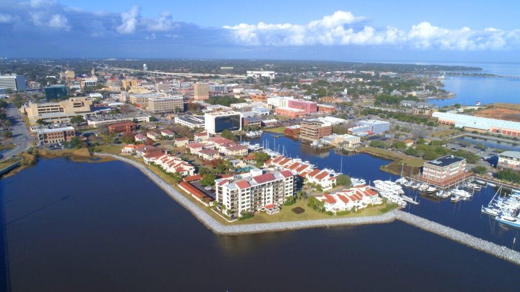 A bird's eye view of Downtown Pensacola